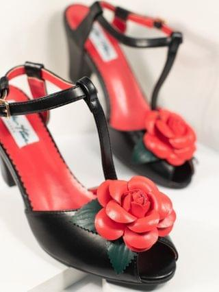 WOMEN Collectif Black & Red Floral Rosa T-Strap Heels