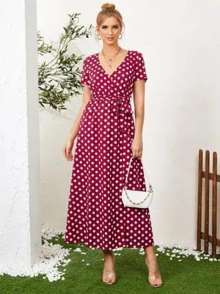 WOMEN YOINS Polka Dot Wrap Design Slit Hem Maxi Dress