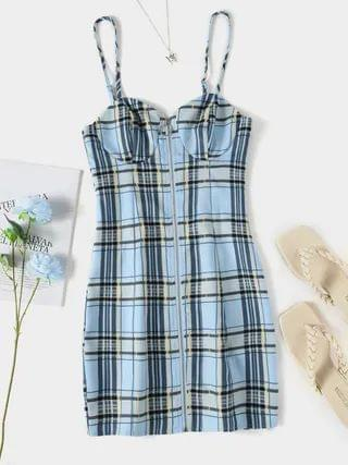 WOMEN YOINS Blue Spaghetti Plaid Backless Design Zip Front Mini Dress