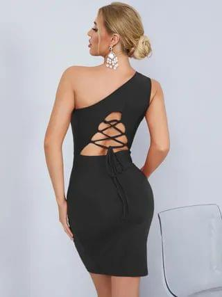 WOMEN YOINS Cut Out Backless Lace-Up Design One Shoulder Sleeveless Midi Dress