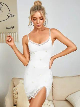 WOMEN YOINS Spaghetti Embroidered Backless design lace Trim Slit Hem Mini Dress