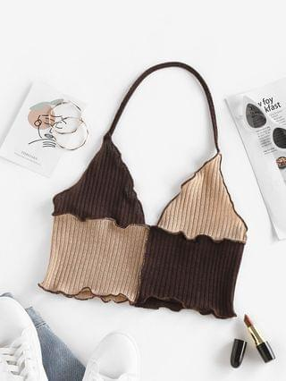 WOMEN Topstitching Colorblock Halter Knitted Top - Coffee Xl