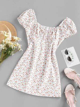 WOMEN Tiny Floral Print Puff Sleeve Mini Dress - White L