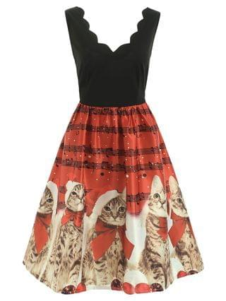 WOMEN Christmas Musical Notes And Cats Flare Dress - Red L