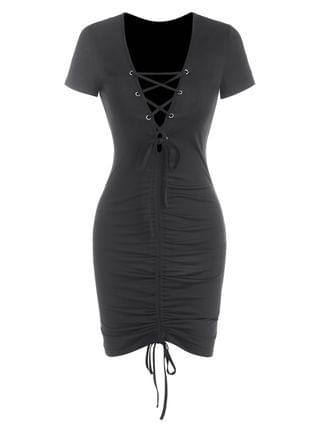 WOMEN Cinched Lace-up Bodycon Ruched Dress - Black S