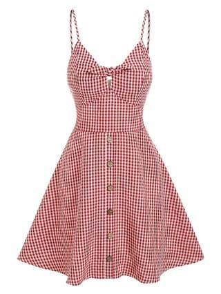WOMEN Gingham Knotted A Line Buttoned Cami Dress - Red S