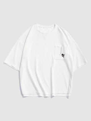 MEN Letters Goldfish Print Pocket T-shirt - White S