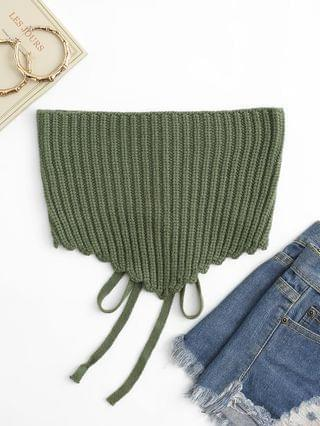 WOMEN Chunky Knit Lace-up Pointed Hem Bandeau Top - Green