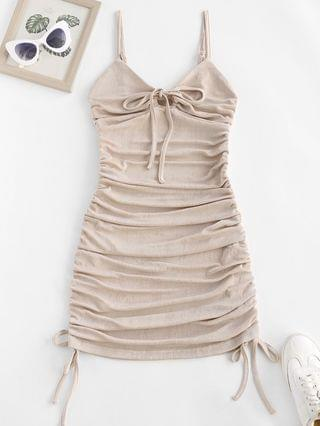 WOMEN Bowknot Keyhole Cinched Cami Bodycon Dress - Light Pink Xl
