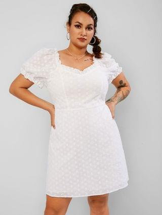 WOMEN Plus Size Ruffled Broderie Anglaise Puff Sleeve Dress - White 5xl