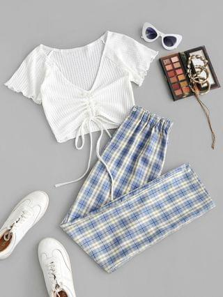 WOMEN Cinched Ruched Knit Top And Plaid Pants Set - Light Blue S