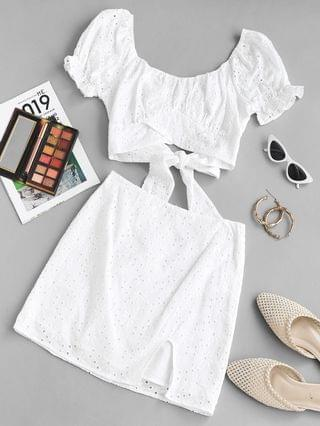 WOMEN Broderie Anglaise Puff Sleeve Two Piece Skirt Set - White L