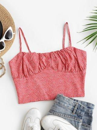 WOMEN Ditsy Print Bustier Smock Back Cami Top - Red M