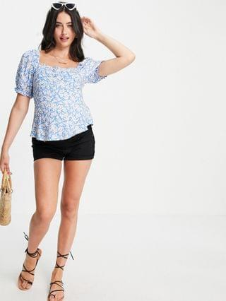WOMEN New Look Maternity floral square neck peplum top in blue pattern