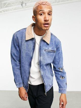 MEN Mennace worker denim jacket set in with contrast suede collar and butterfly embroidery