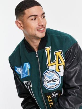 Mennace varsity bomber jacket in green and black with patches