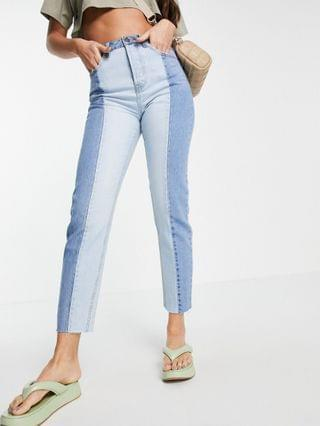 WOMEN Stradivarius Tall straight leg contrast two tone jeans with raw hem in blue