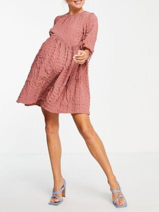 WOMEN Maternity textured mini smock dress with ties in pink