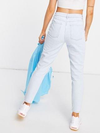 WOMEN New Look extreme rip mom jean in bleach blue