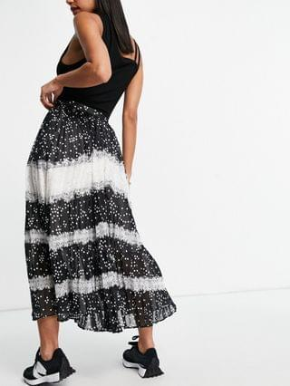 WOMEN pleated midi skirt with lace detail in mono spot