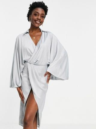 WOMEN Tall blouson sleeve satin shirt dress with open back in ice