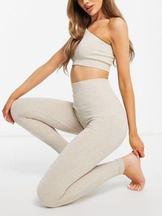 WOMEN & Other Stories recycled ribbed yoga leggings in beige melange - part of a set