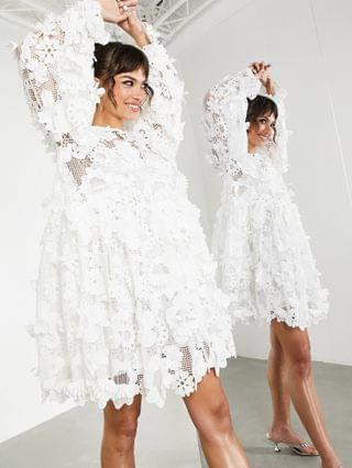WOMEN EDITION tiered mini dress with 3D floral embroidery in white