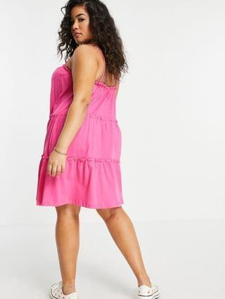 WOMEN Curve strappy sundress with tiered frill detail in hot pink