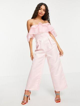 WOMEN Collective the Label Petite double frill wide leg jumpsuit in pink