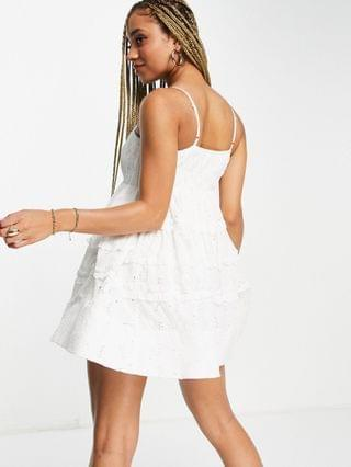 WOMEN Lace & Beads exclusive empire waist structured bodysuit mini dress in white broderie
