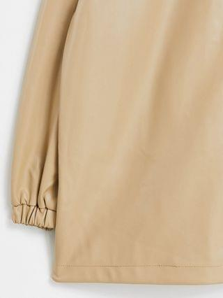 WOMEN Curve faux leather bomber jacket in camel