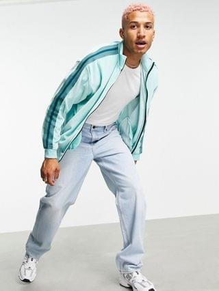 set oversized velour track jacket with side tape in blue green