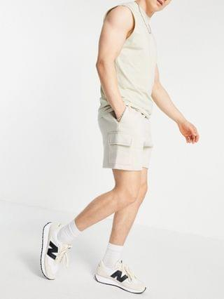 New Look jersey cargo shorts in gray