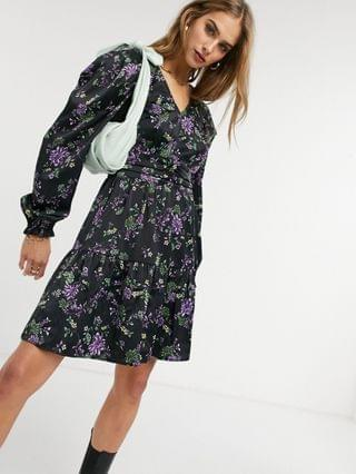WOMEN Y.A.S mini smock dress with puff sleeve in dark floral
