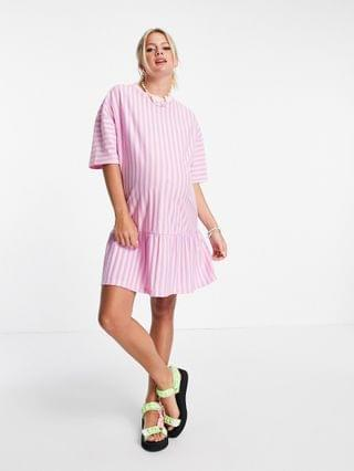WOMEN Maternity oversized t-shirt dress with frill hem in pink and lilac stripe