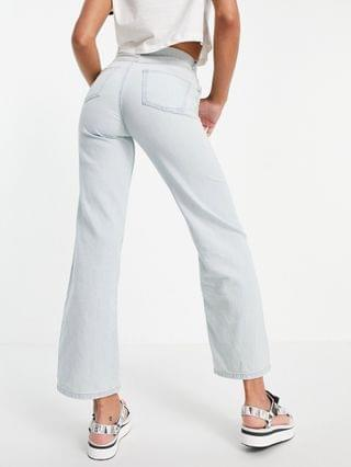 WOMEN Lost Ink relaxed fit wide leg jeans in light wash