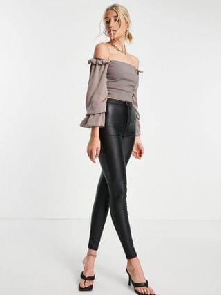 WOMEN Vesper Tall off shoulder crop top with ruffle detail in brown - part of a set