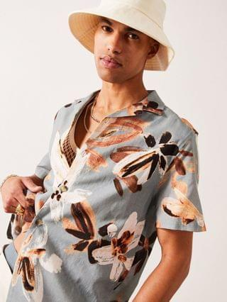 relaxed revere shirt in linen mix with floral print