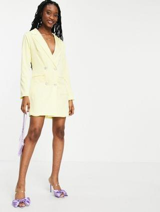 WOMEN Collective the Label tailored blazer mini dress with crystal buttons in lemon