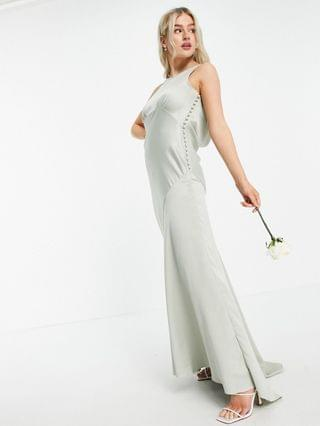 WOMEN Petite Bridesmaid cowl back satin maxi dress with button side detail in olive