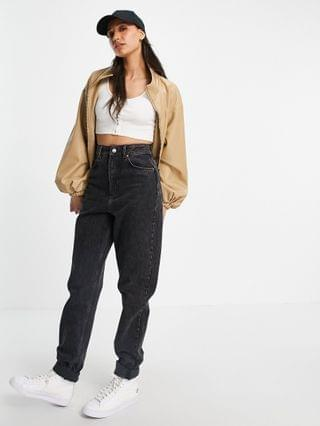 WOMEN Tall faux leather bomber jacket in camel