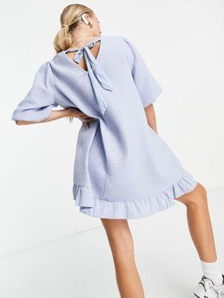 WOMEN Pieces Maternity puff sleeve shift dress in blue