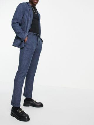 slim soft tailored jersey suit in navy wide twill