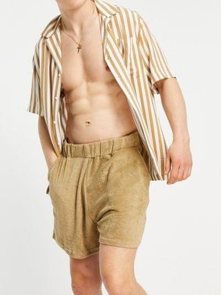 New Look terrycloth pull on shorts in stone