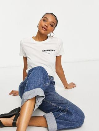 WOMEN GANT relaxed t-shirt with logo graphic in white