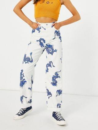 WOMEN Topshop oversized mom jeans in dragon print