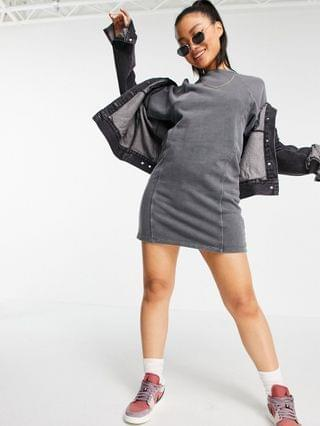 WOMEN Noisy May Petite mini sweatshirt dress with puff sleeves in washed gray