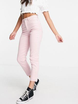 WOMEN New Look mom jeans in pastel pink