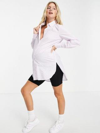 WOMEN Pieces Maternity oversized shirt in lilac stripe