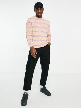 knitted pointelle sweater with stripe design in pink